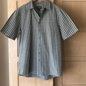Eddie Bauer Olive Green Plaid Short Sleeve Shirt M